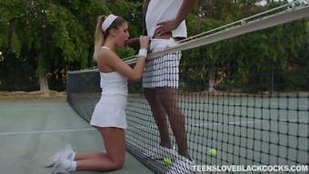 Concupiscent tennis babe August Ames gets caring with the use of one dark colored dude