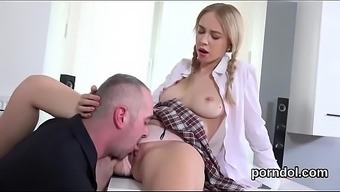Gorgeous booklover is interested and lost by her mature instructor