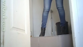 White attractive little blondie in the toiletroom pissing on veiled cam