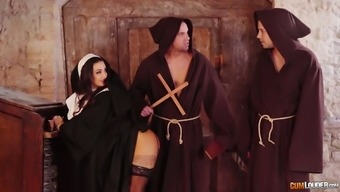 Horny sinful nun Susy Festival is fucked by multiple attractive monks