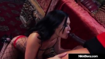 Brunette Babe Nikki Benz Cock Fucks Asian London Keyes!