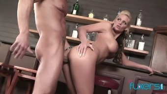 Sexy bartender Phoenix Marie needs a big cock to suck and fuck