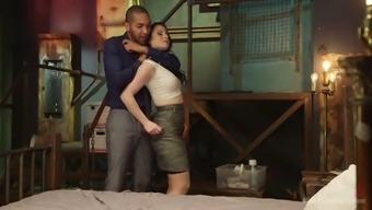 Horny mistress Veruca James stimulates big black dick and balls with a vibrator