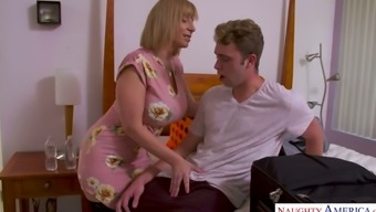 Bosomy auburn sexpot in black stockings Sara Jay is hammered doggy