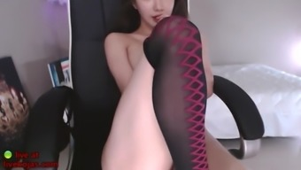 Hottest korean cam babe in sexy stockings