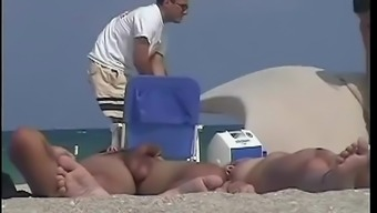 A nude beach voyeur films a funny girl with a pineapple painted on her ass