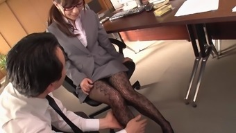 Milf Kaho Kasumi having her pussy penetrated in the office
