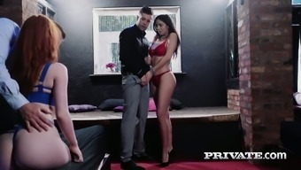 Luscious infant Julia en Lucia is using a tilt in the appearance of a pair of babes