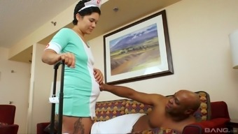 Healthcare provider Angela consists of a giving dark chocolate fucker who you're pleased with her cunt