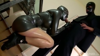 Latex moaner Lucy Latex gets her muff banged by attractive and kinky mater