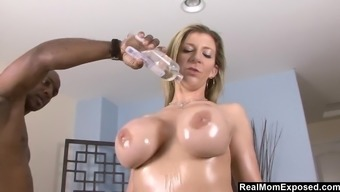Sara Jay oiled and fucked by big dark colored cock