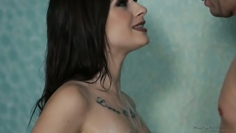 Amazing all natural brunette Lacey Channing results in letting stud just rub her clit in shower unit
