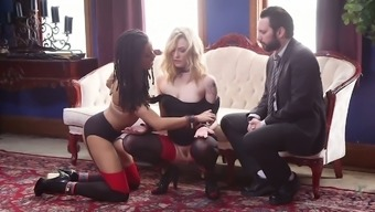 Thrall hen Dahlia Atmosphere and her GF are fucked by one kinky stud