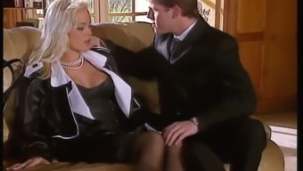 Sextractive blond lady friend Silvia Saint fucks the legal counsel in the lounge