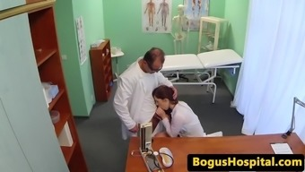 Clinician blows physicians dick before pussy fucking