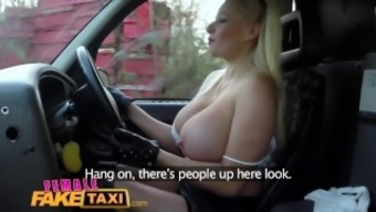Girl Worthless Taxi Office worker receives a big tits surprise from blonde cabbie