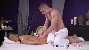 Massage therapy Rooms Slender along with great titties dim skin surface cherub fucked
