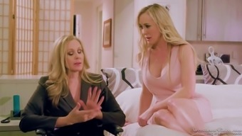 A pair of stunning milfs Julia Ann and Brandy Love fuck another like there's no later