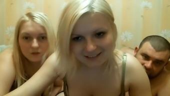 Heated threesome toward the webcam show