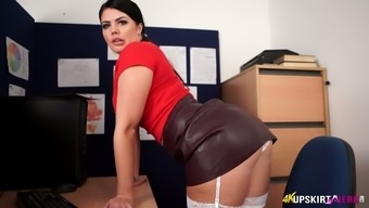 British secretary Kylie K takes off her panties and shows pussy upskirt
