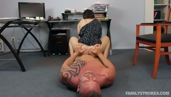 Bitchy black haired chick came to have nasty sex with her brutal step daddy in his office
