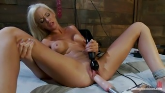Blonde Kaylee Hilton gets toyed in both holes by a machine