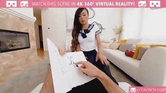 Naughty collegegirl Venus Lux sucks a cock and take it into her tight ass