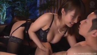 Ayami Shunka rides cock while wearing high heels and stockings