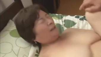 Japanese Granny fucks her 2 not step sons