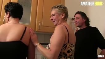 Amateureuro amateur deutsche granny has hot ffm sex on the kitchen table