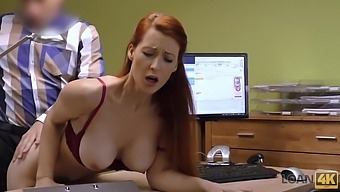 Redhead Isabella Lui with huge hooters has sex for cash with loan agent