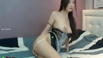 Busty korean model in lingerie masturbates on cam