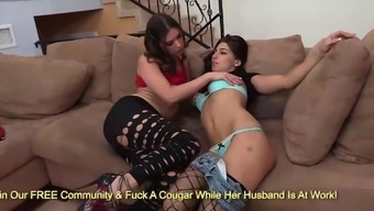 Kinky brunettes Victoria Lawson and Allie Jordan kissing and rubbing on sofa