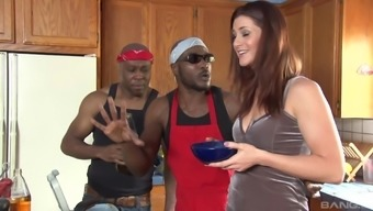 Redhead curvy vixen CiCi Rhodes pounded by black guys in the kitchen