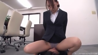 Japanese secretary Kase Kanako gets cum on her ass in nylons