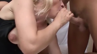Slutty blonde nana takes a couple of lots on top of her face