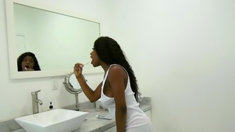 FamilyStrokes - Hot Ebony Step daughter rides Her Dads Cock