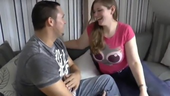 Heavy Teen Gives Her Roommate with Small Cock Deepthroat Bj