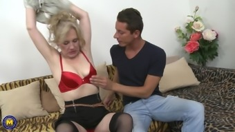 Amateur mature blonde granny Janka E. gets her shaved pussy fucked