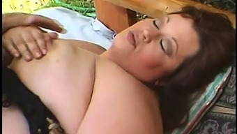 Red head bbw takes two big cocks outdoor