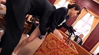Japanese milf Julia in a hot gangbang session