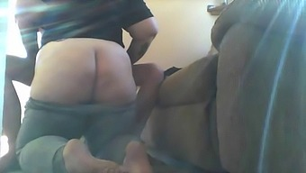 wife cheats on husband with twin brother, blowjob on all fours, kicking feet