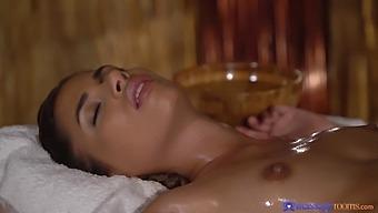 Latina lesbians wet and oily fuck