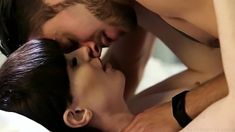 Brunette shemale Natalie Mars stroking her and her lover's cock