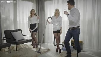 Nice threesome with two house maids Lina Mercury and Olivia Sin