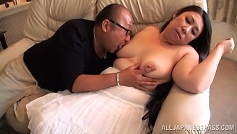 Fat mature Japanese babe undressed and fucked by a shy dude