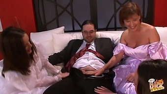 Big guy with a small dick gets pleasured by Lucy Love and her friends
