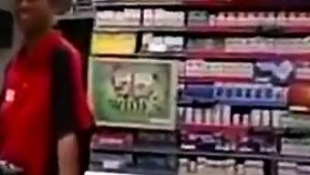 Black Store Clerk sucks white cock on the job Ebony