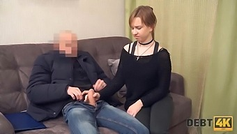 Jobless debtor Alice Klay has to take the mans penis in pussy
