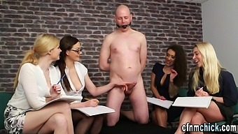 Cfnm judges rate naked bound losers cock